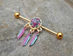 Gold Industrial Barbell Dream Catcher Fire Opal Center 14ga Body Jewelry Ear…
