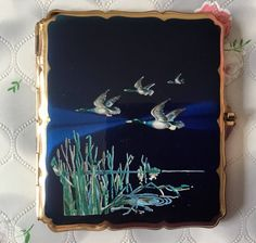 Vintage Stratton cigarette case, flying ducks, 1950s Statton ducks, Stratton waterbird, vintage ladies cigarette case, business card case, by DaynartVintage on Etsy