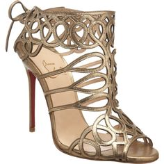 Christian Louboutin Zigouwi ($1,195) ❤ liked on Polyvore featuring shoes, sandals, heels, sapatos, christian louboutin, christian louboutin sandals, christian louboutin shoes, open toe shoes, ankle strap heel sandals and high heel sandals