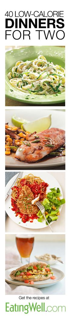 Barbecue Portobello Quesadillas for Two, Quick Chicken Cordon Bleu for Two, Creamy Garlic Pasta with Shrimp & Vegetables for Two, Curry Scallops & Cilantro Rice for Two, Chicken Shawarma for Two, Quick Chicken Parmesan for Two and many more on EatingWell.com Low Calorie Dinner For Two, Healthy Meals For Two Dinner, Healthy Light Dinners, Light Meals For Dinner, Quick Dinners For Two, Chicken Dinner For Two, Low Cal Lunch, Low Cal Dinner, Dinner Ideas