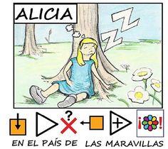 """MATERIALES - """"Alicia en el país de las maravillas"""" Cuento adaptado con pictogramas y láminas de Fátima Collado. http://arasaac.org/materiales.php?id_material=620"""