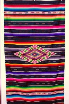 Saltillo Serape Vintage Mexican Blanket Rare Black