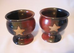 Two Wine Goblets Handmade Pottery Teacups Glazed  by pottersong, $40.00