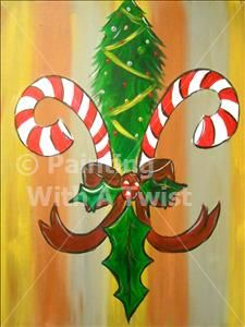 Candy Cane Fleur de Lis (was $45 now $35)) - Mandeville Painting Class - Corks N Canvas - Corks N Canvas