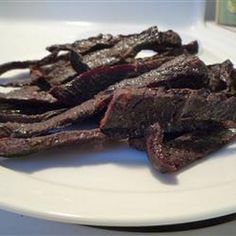 T Bird's Beef Jerky Recipe Lunch and Snacks with round steaks, onion powder, black pepper, garlic powder, salt, salad dressing, worcestershire sauce, soy sauce, hot pepper sauce