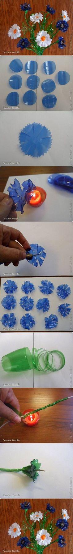 DIY Cornflowers botella de plástico y margaritas DIY Proyectos | UsefulDIY.com