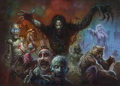 Rob Zombie Art by Alex Horley Rob Zombie Art, Rob Zombie Film, Zombie Squad, Zombie Movies, Scary Movies, Horror Movie Characters, Horror Films, Horror Icons, Sick Bubblegum