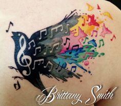 Music note bird watercolor. Skinny Boy Tattoo, Post Falls Idaho.