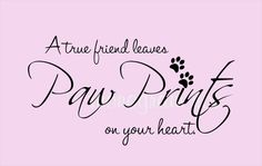 Pet Quote Wall Decal A true friend leaves paw prints on your heart. Vinyl decals can be applied to Walls Glass Metal Plastic Wood any smooth to semismooth surface. Measure 36 wide x 19 tall I Miss You Quotes, Missing You Quotes, Puppy Quotes, Animal Quotes, I Love Dogs, Puppy Love, Bff, Pet Loss, Rainbow Bridge
