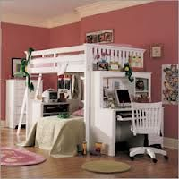 Loft bed/bed/desk for adults - Google search. LOVE the organisation and compactness of it <3