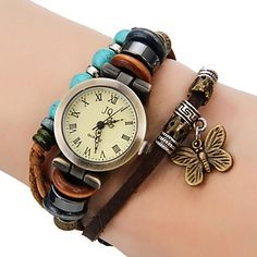 Frauen Vintage Style Schmetterling Anhänger Brown Leather Band Quarz-Armbanduhr – EUR € 6.98