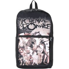 My Chemical Romance The Black Parade Backpack Hot Topic ($35) ❤ liked on Polyvore featuring bags, backpacks, zipper bag, padded bag, rucksack bag, day pack backpack and padded backpack