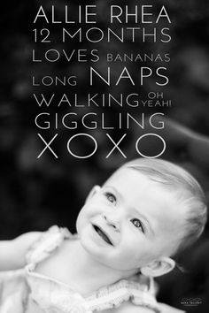 Text overlay lists milestones and favorites. One year old photo shoot.