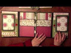 "Joy Christmas Folio Project - from My Sisters Scrapper (based on Kathy Orta's ""Folio Tutorial"") Mini Photo Albums, Mini Albums Scrap, Mini Scrapbook Albums, Scrapbook Cards, Christmas Mini Albums, Christmas Minis, Handmade Christmas, Tutorial Scrapbook, Mini Album Tutorial"