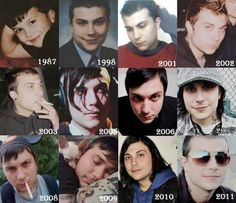 The Evolution of Frank Iero. 6 year old Frank is my favorite because of reasons