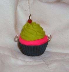 Stud Earring Pair with Cabochon Picture Cup Cake cake cherry waffle bronze different sizes