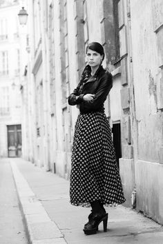 polka dots and leather. a combo that works well for pretty much all occasions. love the retro spin shown here by the sartorialist.