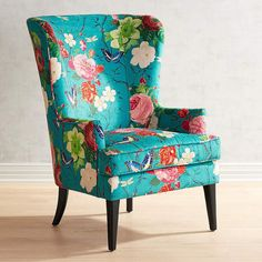 Asher Flynn Floral Print Chair I like the design of chair. Wicker Chairs, Upholstered Chairs, Chair Cushions, Swivel Chair, Wing Chairs, Funky Chairs, Upholstery Fabric For Chairs, Colorful Chairs, Teal Chair