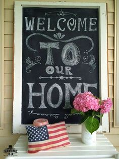 Check out this cute DIY Welcome Chalkboard by Farmhouse 40 on my Tips & Tricks Tuesday Linkup. Outdoor Chalkboard, Diy Chalkboard, Chalkboard Wedding, Chalkboard Quotes, Chalk It Up, Chalk Board, Board Paint, Chalkboard Welcome Signs, Chalkboard Wall Bedroom