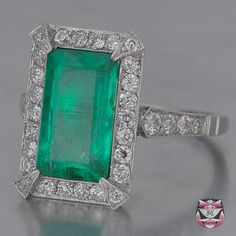 All kinds of fabulous. Art Deco diamonds and emerald. http://www.faycullen.com/Art-Deco-Rings/9279/
