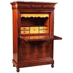 Antique French Louis Philippe Fallfront Secretary in Mahogany with Marble Top, c.1835