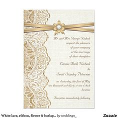 White lace, ribbon, flower & burlap wedding
