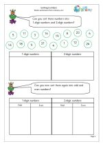 Sorting numbers Carroll Diagram, Statistics, Sorting, Worksheets, Numbers, This Or That Questions, Math, Math Resources, Literacy Centers