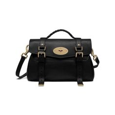 Alexa in Black Polished Buffalo With Soft Gold | Women | Mulberry