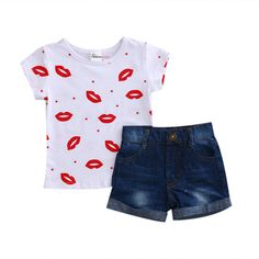 9b8a3873524 2Pcs for Summer Girls Clothes Baby Girls Short Sleeve T Shirt Tops   Jeans  Shorts Clothes Set Kids Clothes Outfits Set -in Clothing Sets from Mother    Kids ...
