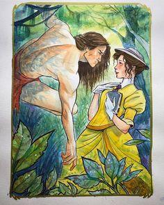 Tarzan meets Jane in the jungle Disney Girls, Disney Love, Disney Magic, Disney Pixar, Disney Frozen, Arte Disney, Disney Fan Art, Disney Artwork, Disney Drawings
