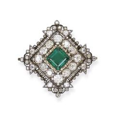 A FINE ANTIQUE EMERALD AND DIAMOND BROOCH/PENDANT   The central square-cut emerald weighing 8.68 carats within an openwork diamond frame, circa 1860, 5.8 cm wide, brooch fittings detachable