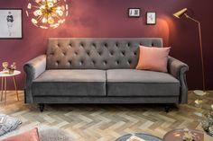 Luxusná sedačka so sklopným operadlom šedá. Sofa Design, Chesterfield, Cover Gray, Guest Bed, Sofa Bed, Solid Wood, Love Seat, Flooring, Interior