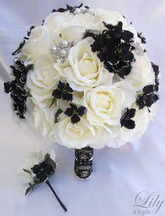 2pcs Wedding Bridal Bride Bouquet Groom Boutonniere w/Gem Jewelry IVORY BLACK