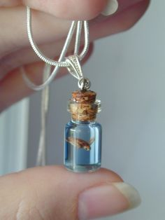 Sea Turtle in a tiny bottle necklace.  NOT REAL TURTLE!....but so cute for people who love sea animals or the sea....sold out on Etsy...but thought it was too cute an idea not to pin!