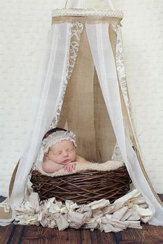Newborn Canopy  Burlap and Lace