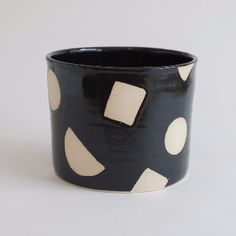 Hannah Bould   Medium Black Shapes Plant Pot: Hannah Bould ceramic plant pot with simple geometric patterns, each piece is individual and hand painted. Handmade on her wheel and fired in her kiln in Archway.
