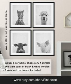 Black And White Farm Animal Prints Nursery Animals Farmhouse Decor Baby Print Canvas