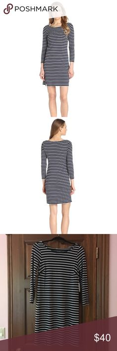 Ponti Stripe Dress, navy blue and white BRAND NEW (with tags), navy blue and white striped, size small. Very comfortable and flattering material. Easy dress to throw on for any occasion! Perfect to transition from Summer to Fall. Velvet by Graham & Spencer Dresses
