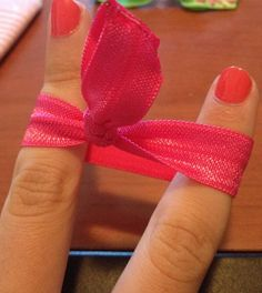 Easy DIY no-crimp elastic hair ties won't leave a ponytail mark in hair. These are the best! The elastic material is cheaply found at most any craft store...comes in different colors and patterns.