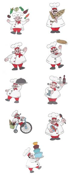 Bon Appetit Chefs Filled Set 2 embroidery design set available for instant download at www.designsbyjuju.com