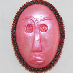 PINK Polymer Clay Cabochon Tribal Face Brooch by craftsbyJeri