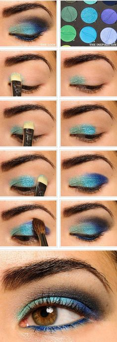 Shimmery Green and Blue Eye Makeup Tutorial