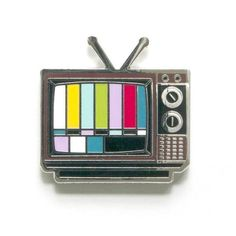 Retro TV hard enamel pin - wide - Black rubber clutch - Silver colored metal - Cloisonné enamel pin Designed with love in Knoxville, TN by Smarty Pants Paper Co. Soft Grunge, Jacket Pins, Cool Pins, Metal Pins, Pin And Patches, Pin Badges, Lapel Pins, Pin Collection, Silver Color