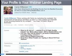 Your Profile is your Webinar Landing Page Carrie Wilkerson