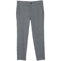 Mini Houndstooth Trousers ($47) ❤ liked on Polyvore featuring pants, grey, grey trousers, mango trousers, zipper pants, zipper trousers and zip pants