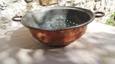 Antique French Copper MASSIVE Sieve Copper Pan Fruit Colander Jam Sieve Rich Patina Dark Tin Lined French Quality Copper Direct From France by CopperAntiquity on Etsy