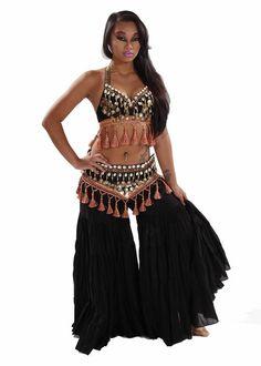 Miss Belly Dance Belly Dance Tribal Pants, Bra & Belt Costume Set | Cowrie Cantana: Amazon.co.uk: Clothing