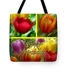 Rainbow Tulips Birthday Greeting 2 Tote Bag by Joan-Violet Stretch
