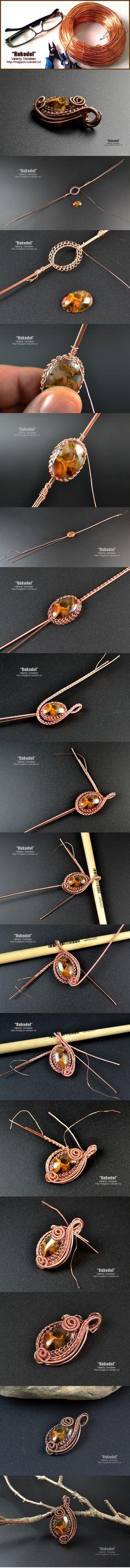 Как сделать кулон (подвеску) из проволоки.   Рукодел - Wire Wrap Pendant