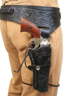 Victorian Mens Black Leather Tooled Gunbelt Holster Combo | Dickens | Downton Abbey | Edwardian || (.44/.45 cal) Western Gun Belt and Holster - RH Draw - Black Tooled Leather